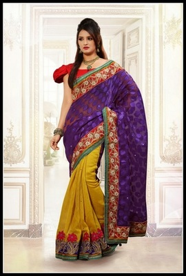 Alluring Deep Purple & Pale Yellow Embroidered Saree