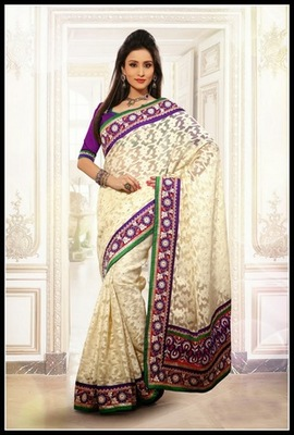 Tranquil Buttercream Embroidered Saree