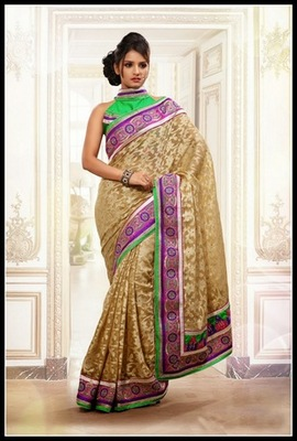 Enigmatic Beige Embroidered Saree