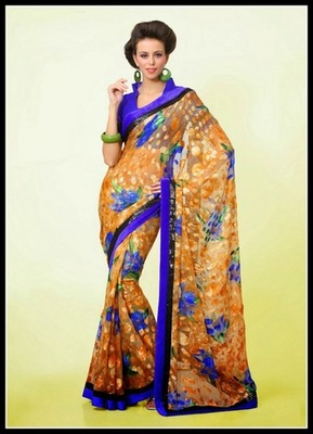 Luscious Blue & Orange Embroidered Saree