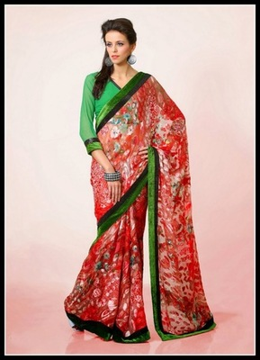 Aesthetic Off White, Pink & Red Embroidered Saree