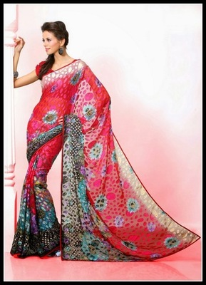 Marvelous Deep Red, Black & Off White Embroidered Saree