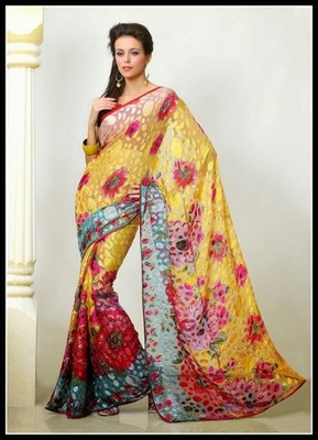Unique Cyan Blue, Red & Yellow Embroidered Saree