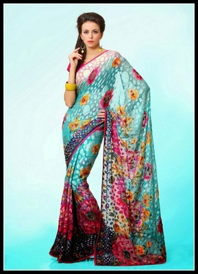 Fascinating Cyan Blue, Off White & Steel Blue Embroidered Saree