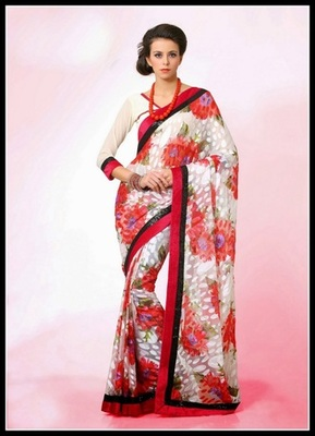 Marvelous Off White & Red Embroidered Saree
