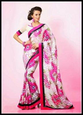 Ravishing Deep Pink & Off White Embroidered Saree