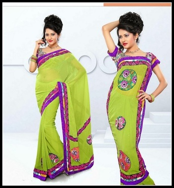 Marvelous Parrot Green Embroidered Saree