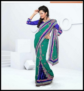 Magnificient Greenish Blue & Royal Blue Embroidered Saree