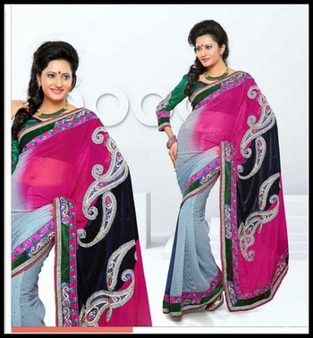 Divine Ash Gray, Navy Blue & Pink Embroidered Saree