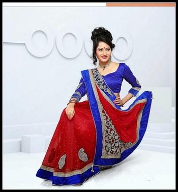 Chic Blue & Crimson Embroidered Saree