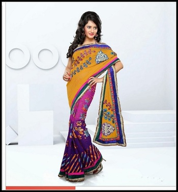 Magnificient Deep Purple, Orange & Pink Embroidered Saree