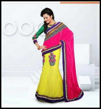 Gleaming Pink & Yellow Embroidered Saree