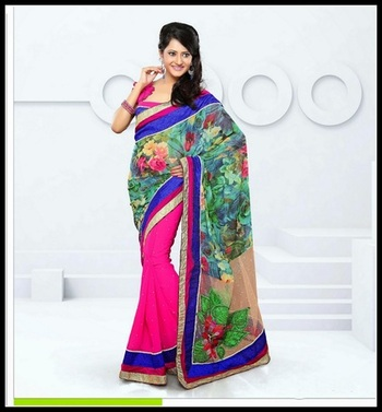 Majesty Emerald Green, Pink & Tan Brown Embroidered Saree