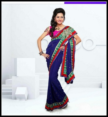 Tranquil Royal Blue Embroidered Saree