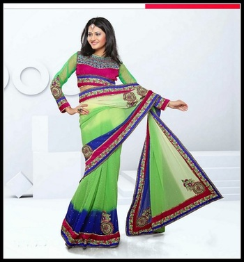 Vivacious Buttercream, Royal Blue & Pale Lime Green Embroidered Saree