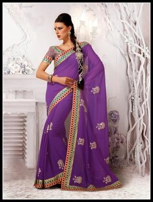 Alluring Bluish Purple Embroidered Saree