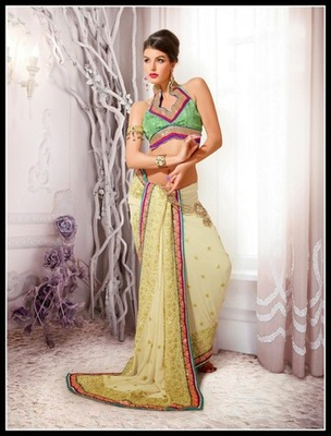 Adorable Buttercream Embroidered Saree
