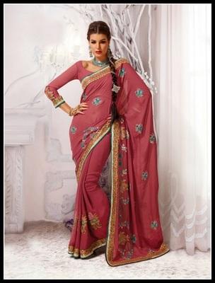 Vivacious Deep Rose Pink Embroidered Saree