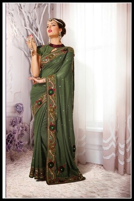 Melodic Pale Bottle Green Embroidered Saree