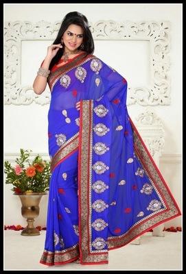 Luscious Royal Blue Embroidered Saree