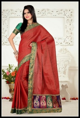 Gleaming Red Embroidered Saree