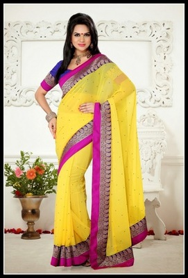 Marvelous Yellow Embroidered Saree