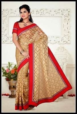 Chic Beige Embroidered Saree