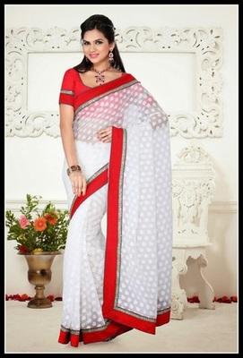 Marvelous White Embroidered Saree