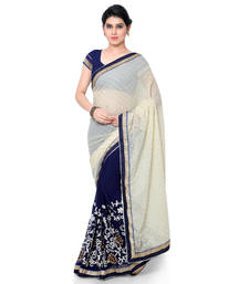 ee97a9970a5b4 63% OFF Buy blue embroidered georgette saree With Blouse georgette-saree  online