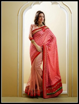 Dazzling Diva Pink & Rosy Brown Embroidered Saree