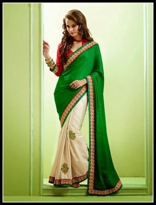 Gorgeous Deep Buttercream & Green Embroidered Saree