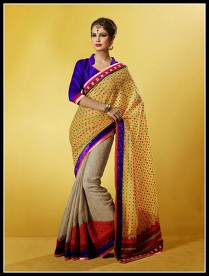 Divine Beige & Yellow Embroidered Saree
