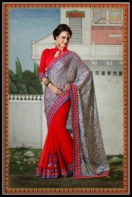 Vivacious Gray & Red Embroidered Saree