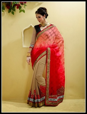 Butta Beige, Red & Rose Pink Embroidered Saree