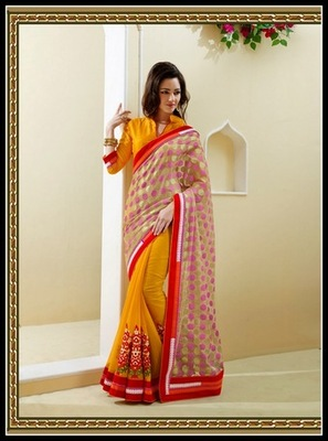 Chic Beige & Orange Embroidered Saree