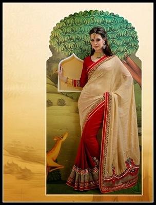 Classy Beige & Crimson Embroidered Saree