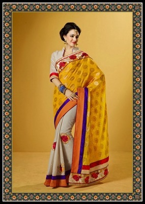 Attractive Beige & Gold Color Embroidered Saree