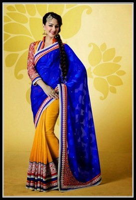 Magnificient Deep Blue & Orange Embroidered Saree