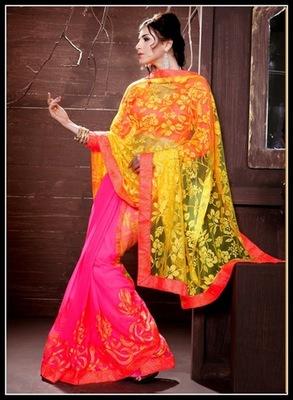 Enigmatic Fuchsia & Yellow Embroidered Saree
