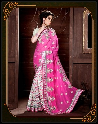 Marvelous Gray, Pink & White Embroidered Saree