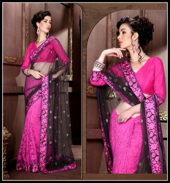 Butta Deep Ash Gray & Deep Pink Embroidered Saree