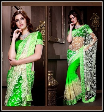 Dazzling Diva Green & Off White Embroidered Saree