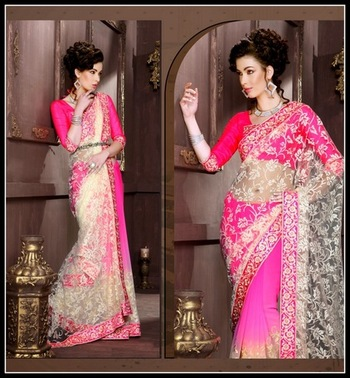 Exotic Off White & Pink Embroidered Saree
