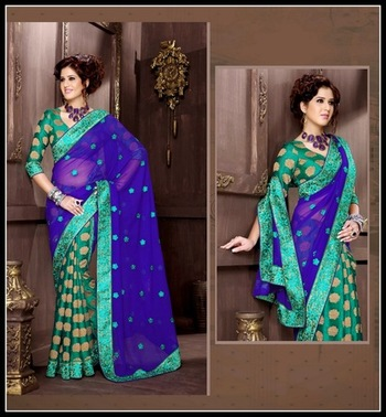 Majesty Blue & Jade Green Embroidered Saree