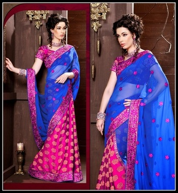 Aesthetic Blue & Pink Embroidered Saree