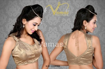 Sleeveless embellished copper saree blouse X-51c Copper. Muhenera presents vama designer collection