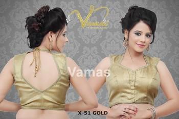 Sleeveless embellished gold saree blouse X-51g gold. Muhenera presents vama designer collection