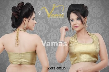 Halter-neck Style Sleeveless Shimmery Blouse - x55g gold . Muhenera presents vamas designer collection