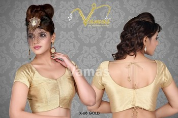 Elegant golden saree blouse - X-68g. Muhenera presents vamas designer collection
