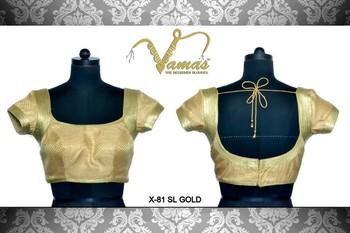 Brocade blouse with Shimmery Armhole. x-81slg.Gold. Muhenera presents designer vama collection